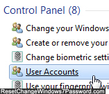 Access another user account password settings in Windows 7