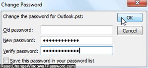 Change or add password protection to Outlook 2010 in Windows 7