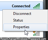 Edit password and security settings of wireless connection