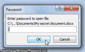 Microsoft Word 2010 password prompt for protected documents