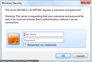 Security password prompt for Windows 7 router